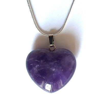 """Amethyst Crystal Heart Pendant 25mm with 20"""" Silver Necklace Meditation"""