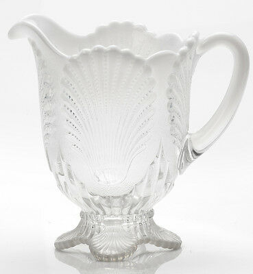 Pitcher - Beaded Shell - Crystal Opalescent Glass - Mosser USA