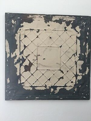 Shabby Chic Vintage Tin Ceiling Tile Mounted Cream Square And Diamond Design