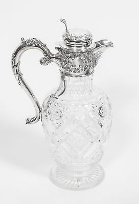 Antique Edwardian Silver Crystal Claret Jug  Ewer 1910