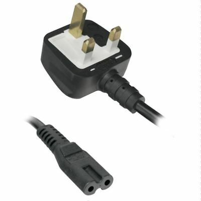 1.8m Power Cord UK 3 Pin Plug to C7 Figure 8 Power Lead Fig 8 Power Cable Mains