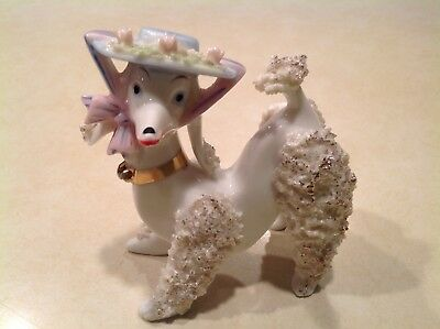 VINTAGE SPAGHETTI POODLE DOG FIGURINE w/ WIDE BRIM PINK FLOWERED HAT