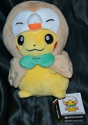 "7"" Rowlet Cape Pikachu Poke Plush Standard Official Pokemon Center Dolls Toys"