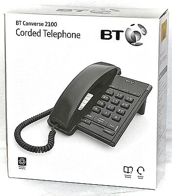 BT Converse 2100 Corded Black Phone   040206 Headset Socket Boxed Brand New