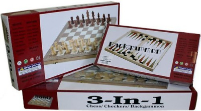 3 in 1 Wooden Board Game Set  Chess Backgammon Draughts Compendium of Games
