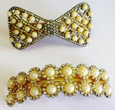 Vintage Hair Clip Lot of 2 Rhinestones Faux Pearls Bow Shaped Retro Glam