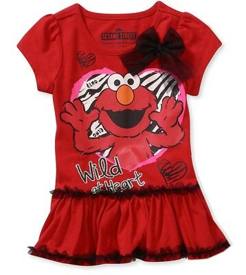 Sesame Street Toddler Girls t Shirt Tutu Tee Red Top Elmo Short Sleeve 3t 4t 5t