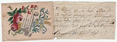 RARE Early Mourning Death sentiment Card & Manuscript Handwriting 1840 German