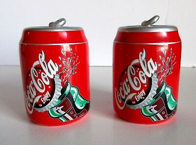 "Coca Cola Coke Can Salt & Pepper Shaker Ceramic Gibson Red 2004 3.5"" x 2 3/8"" D"