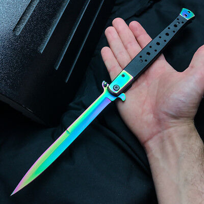 "13"" Extra Large Spring Assisted Open Folding Pocket Knife Stiletto Rainbow G10"