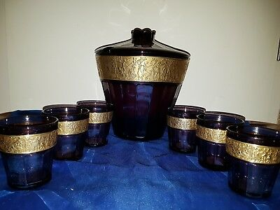 Glasbowle + 6 Gläser Walther Glas Becher Amethyst facettiert Gold Fries Moser