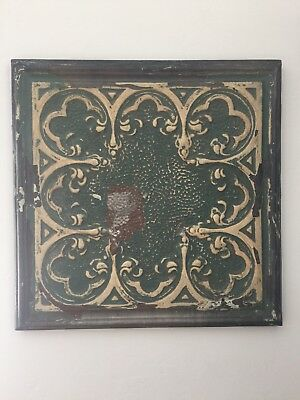 Shabby Chic Vintage Tin Ceiling Tile Mounted on Wood Frame - Green