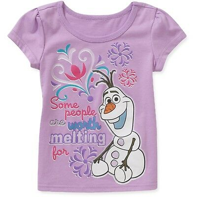 Disney Tee t Shirt Toddler Little Girls Top Short Sleeve Frozen Olaf Graphic s