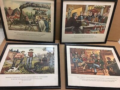 4 Vintage Old Crow Whiskey Historic Kentucky Antique Prints Framed Advertising