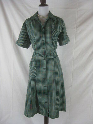 Vtg 50s 60s Activi Tee Womens Vintage Green Plaid NWT NOS House Day Dress