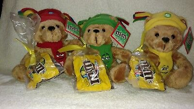 M&M's Plush Bear's Wearing Red, Green & Yellow Hats & Scarfs