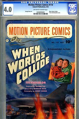 """Motion Picture Comics #110 CGC GRADED 4.0 - """"When Worlds Collide"""" -photo covers"""