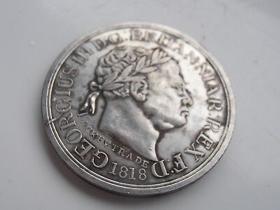1818 George 111 Half Crown Token Free Trade to Africa Silver Plated Copy
