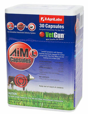 VetGun VetCaps AIM-L Soft Gel Caps Liquid  Parasiticide Fly Lice Cattle 30 Pack