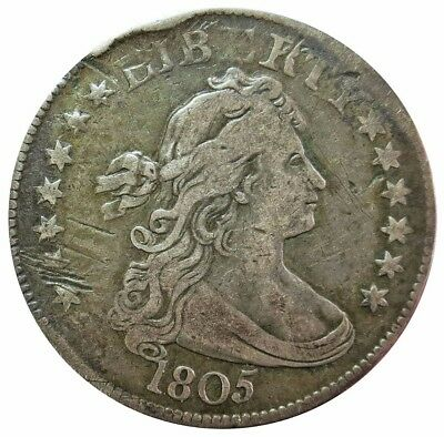 1805 Silver United States Draped Bust Quarter Dollar Coin Very Fine Condition*