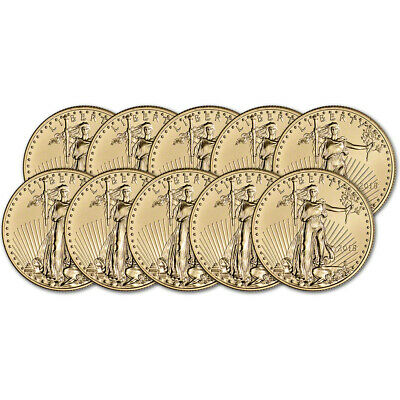 2018 American Gold Eagle (1/2 oz) $25 - BU - Ten 10 Coins