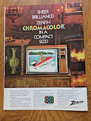 1972 Zenith TV Television AdChromacolor in a Compact Size