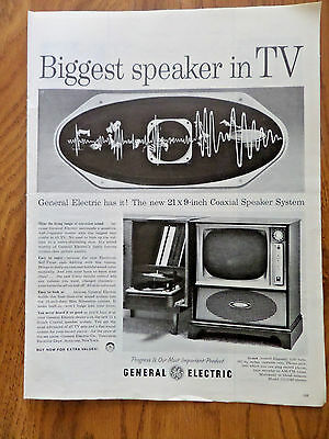 1958 TV Television Ad GE General Electric The Biggest Speaker in TV