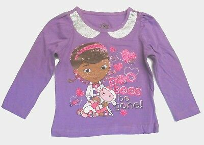 Disney Toddler Girls t Shirt Top Short Sleeve Doc Mcstuffins Siz 2t 3t 4t Purple