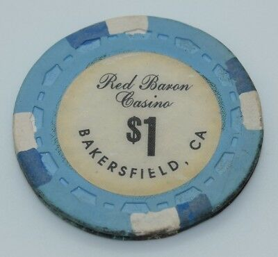 Red Baron $1 Casino Chip Bakersfield California Sm-Crown Mold FREE SHIPPING