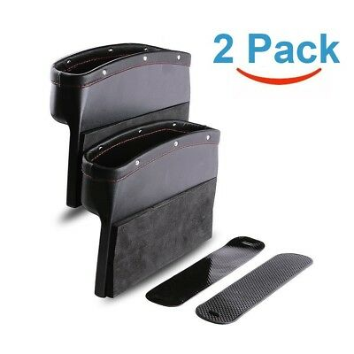 Car Seat Pocket PU Leather Car Console Side Storage Seat Gap Filler Catch Caddy