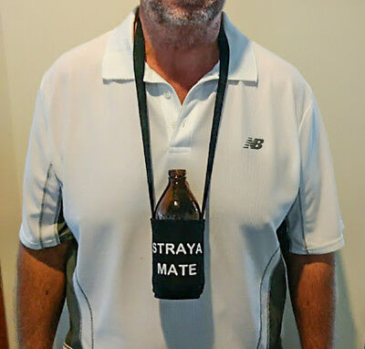 """Novelty """"Straya Mate"""" Stubby Holders with a Neck Strap, five in pack."""