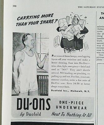 1948 mens Duofold Duons Du-ons one piece underwear next to nothing ad