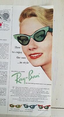 1960 Bausch & Lomb women's Ray-Ban cat eye green sunglasses fashion ad