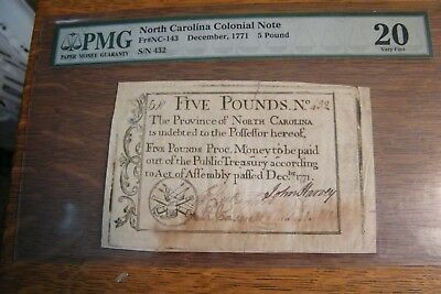 1771 North Carolina Colonial Currency 5 Pounds  PMG  20