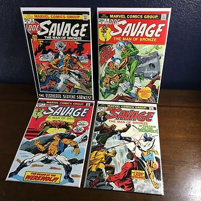"""Bronze Age"" DOC SAVAGE Marvel Comics Lot Issues # 2 4 7 8 Vintage Action Book"