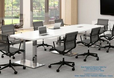 FOOT MODERN Boat Shaped Conference Table With Grommets White And - 18 foot conference table