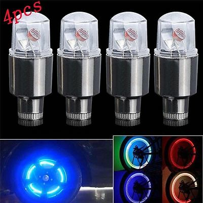 New~~ 4Pcs RGB LED Lamp Flash Tyre Wheel Valve Cap Light For Car Bike Motorcycle