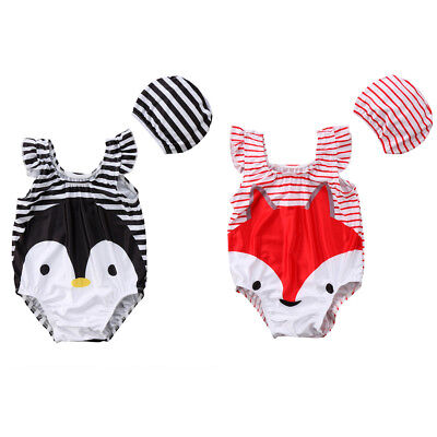 AU Stock Baby Girl 3D Cartoon Fox or Penguin Swimsuit Bathing Swimwear Beachwear