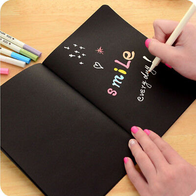 Painting Book School Drawing Graffiti Stationery 2pcs Black Paper Notebook