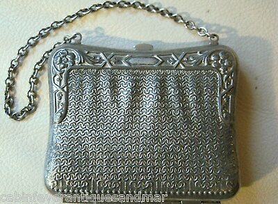 Antique Victorian Art Nouveau Silver T Metal Faux Mesh Motif Card Case Purse #2