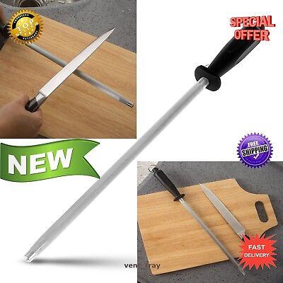 Ceramic Knife Sharpener Rod 12 Inch Steel Round Sharpening Stick Plastic Handle