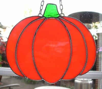 Large Stained Glass Pumpkin, Halloween, Suncatcher Hand Made in England