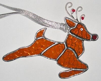Stained Glass Rudolph the Red Nose Reindeer Christmas Decoration Suncatcher