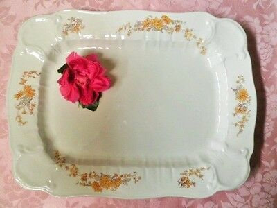 Antique Meat Platter Yellow Chrysanthemums Huge 45.5Cm Xmas Turkey Platter