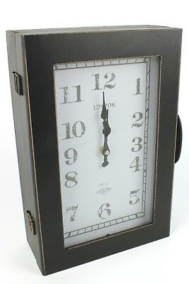 Vintage Finish Hallway Wall Clock, Suitcase Key Cabinet