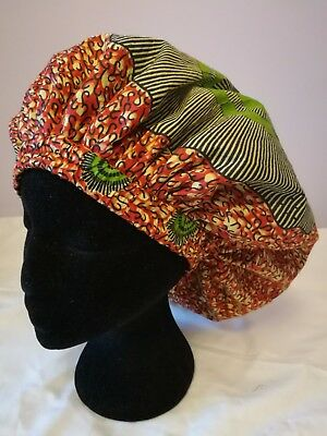New Handmade Red Yellow and Green Circles Lined Sleep/Lounge Caps