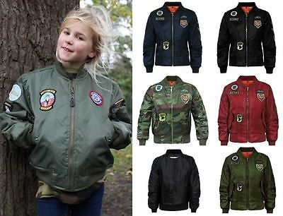 Girls Boys Children MA1 Badges Bomber Jacket Kids Coat Army Military Padded 7-13