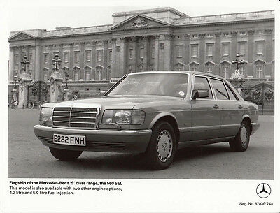 """Flagship Of The Mercedes Benz """"s"""" Class Range The 560Sel Period Photograph."""