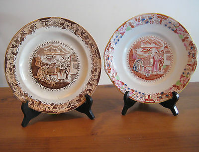 2 ANTIQUE PLATES CHARLES ALLERTON & SONS ENGLAND c1910 RARE