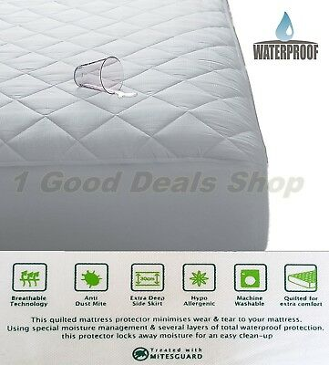 Quilted Waterproof Mattress Protector Washable Kids Adult Wet Sheet Pillow Cover